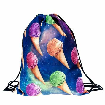 Ice Cream Cones Drawstring Bags Cinch String Backpack Funny Funky Cute Novelty