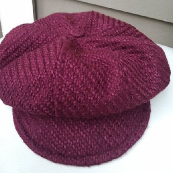 60's Mod Cap, Newsboy, 8 Panel Crown, Wine Colored