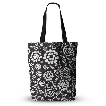"Nicole Ketchum ""Cherry Floral Black"" Everything Tote Bag"