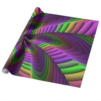 Neon Colors Flash Crazy Colorful Fractal Pattern Wrapping Paper