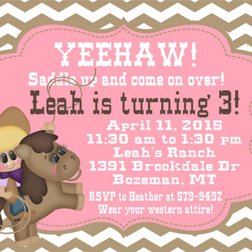 Little Cowgirl Birthday Party Invitations