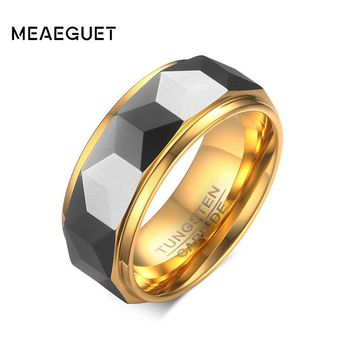 Meaeguet 8MM Wide Faceted Cut Geometric Tungsten Carbide Wedding Ring For Men Jewelry Wedding Bands USA Size 7-12