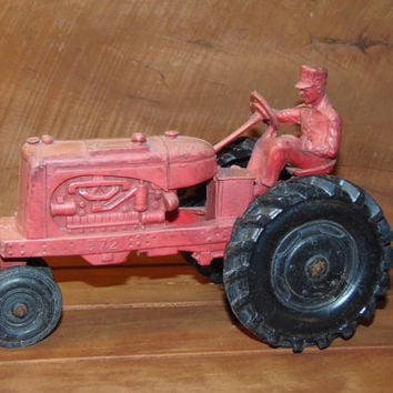 Vintage Red Auburn Toy Rubber Tractor