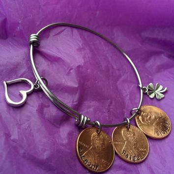 Mom Bracelet - Mother's Day Gift - Penny Bracelet - Personalized Penny Bracelet - Name Penny Bracelet -  Penny Jewelry - Money Jewelry