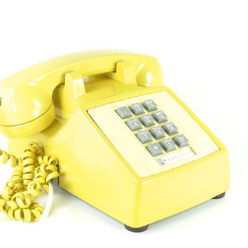Yellow Push Button Telephone Western Electric