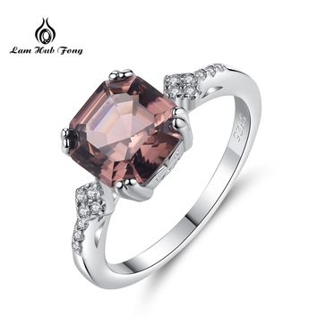 Promotion Morganite Ring Wedding Ring Pure Solid 925 Sterling Sliver Fine Jewelry Brown Ring For Men Gift Dropshipping