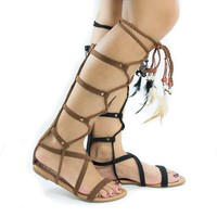 Aries6 Beige By Liliana, Knee High Gladiator Feathered Lace Up Leg Wrap Flat Sandals