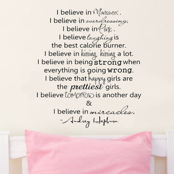 I believe in Pink .. Audrey Hepburn Inspirational Vinyl Wall Decal
