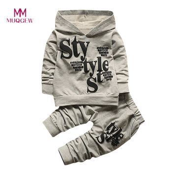 Toddler Baby Boys Clothes Long Sleeve Letter Print Hood Tops Pattern Pants 2PCS Set Kids Clothes Children Clothing for 18M-5T