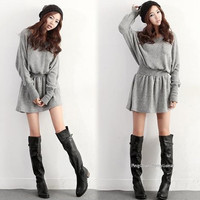 New Hot Women's Ladies Fashion Round Collar Long Sleeve Slim Knit Dress = 1838566724