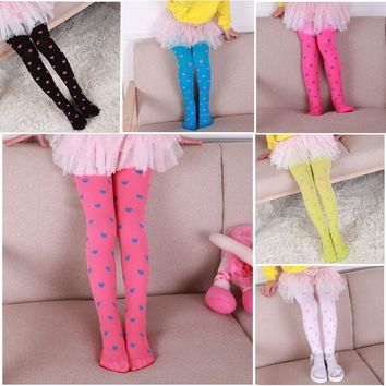 Fashion Heart Printed Girls Tights