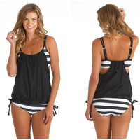 Black Spliced Stripe String Swimsuit