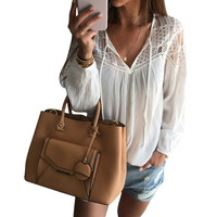 Women Sexy Casual Fashion Solid Color Lace V-Neck Long Sleeve Loose blouse top