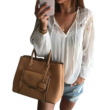 Casual Fashion Solid Color Lace V-Neck Long Sleeve Loose blouse top