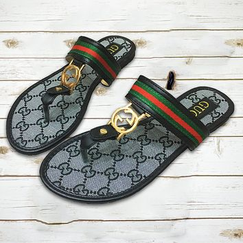 GUCCI Tide brand fashion wild comfortable non-slip flip-flops beach sandals Black