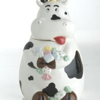 BRANDANI OFFICIAL COW CERAMIC JAR WITH SOUND SENSOR BISCUIT KITCHEN 57470