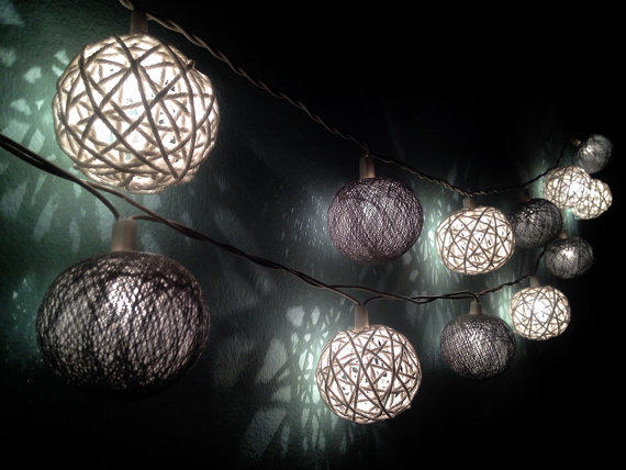Cotton ball string lights for home from Icandylighting on Etsy