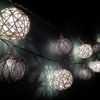 Cotton ball string lights for home decor,party decor,wedding patio,20 pieces indoor rope&ball string lights bedroom fairy lights,grey,white