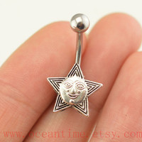 belly button ring,sun and star belly ring,navel ring belly button jewelry,sun belly ring,lucky bellyring
