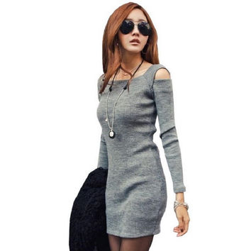 2016 Fashion Autumn Winter Women Sweater Dress Ladies Long Sleeve Knitted Bodycon Stretch Party Casual Dress Black Gray Vestidos