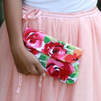 Rose clutch, floral clutch, red, pink and orange clutch purse, bridesmaid clutch, floral bridesmaid clutch