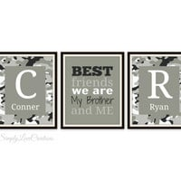 Brothers Print - BEST FRIENDS are we my Brother and me Quote - Camo Print - Hunting Decor - Boys Room -  Nursery Decor - Kids Room Wall Art