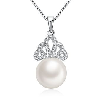 "Freshwater Pearl Necklace Santa Claus Hat & Queen's Crown Secret Drop Pendant with Swarovski Crystals, 18"", Love Gifts for Women, Christmas Fashion Gifts"