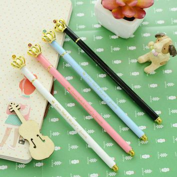 DCCKL72 1 Pcs Cute Kawaii Korean Crown 0.5 Mm Gel Ink Pens Kids Writing Office School Supplies Stationery Blue White