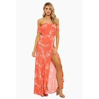 Bella Off The Shoulder Front Slit Maxi Dress - Apricot Burst Floral Print