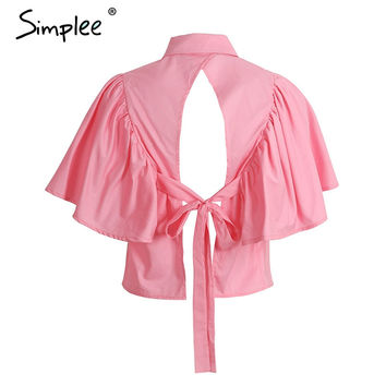 Bow Backless Causal Ruffle Tops