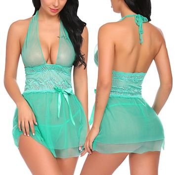 Women Lace Babydoll Patchwork Lingerie Halter Sleepwear Mini Outfits Teddy