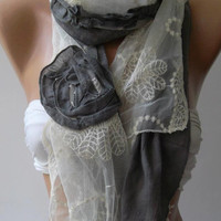 Shabby Chic -Georgeus Scarf Elegance Scarf Feminine Scarf Cotton and Tulle fabric