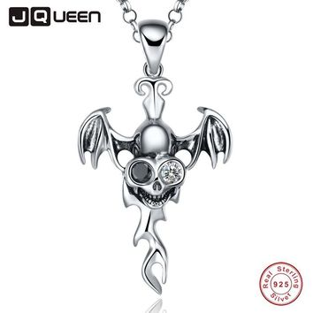 Vintage Punk Crystal Choker Necklace Skull Style Vampire 925 Sterling Silver Jewellery for Men with Black Spinel 16/18 inch