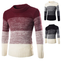 Faded Color Design Men's Sweater