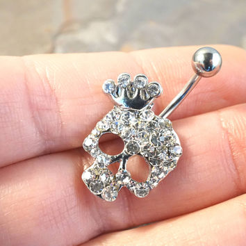Crystal Skull Belly Button Jewelry Ring
