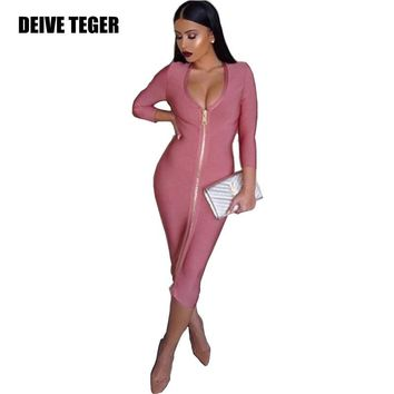 New Solid Rose Pink Bandage Dress Full Length Zipper Front Bodycon Party Summer Women Dress