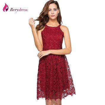 Berydress Cute Women Cocktail Party Sexy Halter Neck Sleeveless Fitted A-Line Skater Dress Chemical Lace Dress Short Vestidos