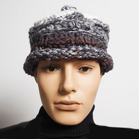Mens knit grey hat - Ready to ship - Roll brim porkpie hat - Fashion knit hat - Chunky knit hat - Mens tweed crochet hat - Teen boy hat
