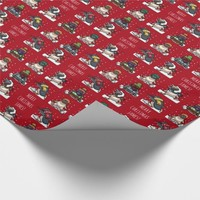 Merry Christmas Personalized Xmas Penguin Cartoon Wrapping Paper