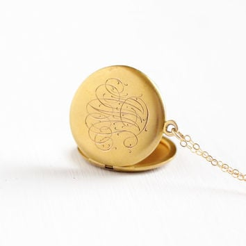 "Antique Monogrammed ""AMS"" 12k Gold Filled Locket Pendant Necklace - Vintage Early 1900s Edwardian Initialed Fob Signet Photograph Jewelry"