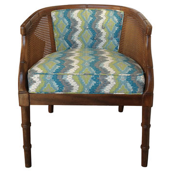 Caned & Upholstered   Barrel Chair