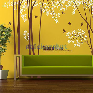 vinyl birch tree decal with deer birch tree wall decal tree deer decal  for Nursery wall stickers living room birch tree decor