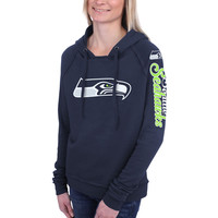 Women's Seattle Seahawks 5th and Ocean by New Era College Navy Snap Count Pullover Hoodie