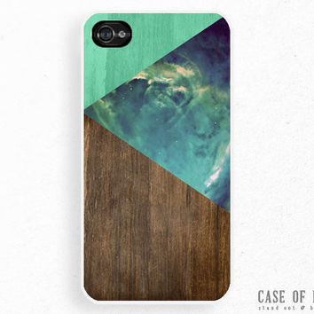 iPhone 5 4 Abstract Case - Galaxy Nebula Triangles Wood Geometric - Samsung Galaxy s3, ipod touch - Green -NC