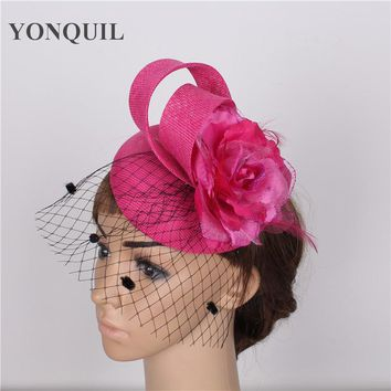 High quality 15colors hot pink fascinator with black birdcage veil sinamay fascinators hats bridal hair accessories occasion hat