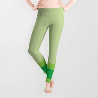 Lime Mint Emerald Green Stripes Leggings, X-Small,Small,Medium,Large,X-Large,Polyester,Spandex,Antimicrobial,Designer,Pattern,Yoga,Jogging