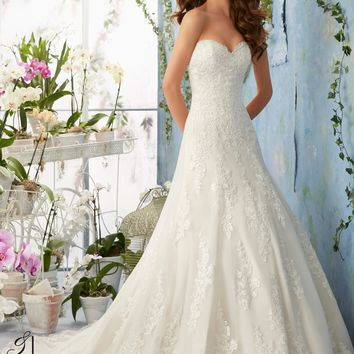 Blu by Mori Lee 5404 Strapless Lace A line Wedding Dress
