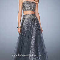 Two Piece Beaded Embellished La Femme Dress