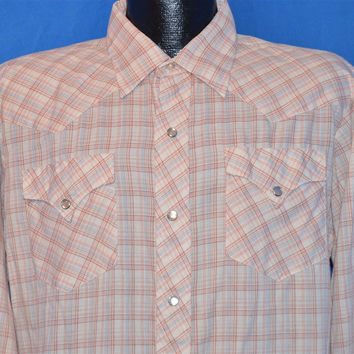 70s Plaid Pink Blue Western Pearl Snap Shirt Large