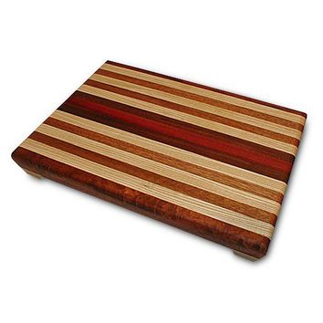 Handmade Large Wood Cutting Board -The Perfect Gift For Him - Figured Andiroba & Bloodwood
